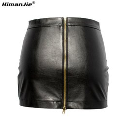 Wholesale Tight Short Skirt Sexy Women - HimanJie Women Black PU Leather Tight Sexy Bodycon Mini Leather Skirt Short Pencil Skirts Clubwear