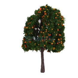 Wholesale Wholesale Fruit Scale - Wholesale- 20pcs Model Orange Yellow  Pink Fruit Trees Train Railway Layout Scale 1 100 6CM