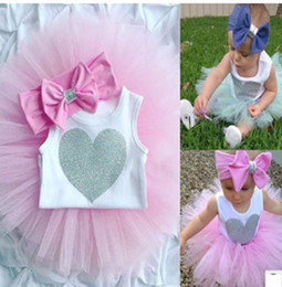 Wholesale Girls Heart Skirt - INS Newborn Infant Baby Girls Clothes Sleeveless Love Heart Bodysuit Romper + Tutu Skirt + Headband 3pcs Outfit Kids Clothing Set 0-8M XT