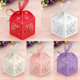 Wholesale Sweet Love Favour Box - 200pcs Luxury Wedding Favour Hollow Love Heart & bride Sweet Cake Candy Gift Boxes Party Table Display With Ribbon Free Shipping