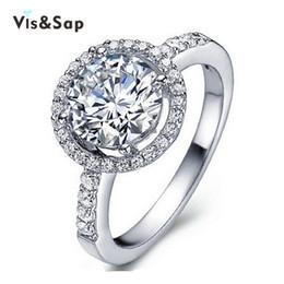 Melhor bijoux on-line-Visisap Melhores Anéis De Casamento Para As Mulheres clássico do vintage Jóias de Pedra Redonda anel de zircônia cúbica bijoux Branco cor de ouro VSR038
