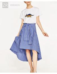 Wholesale Dovetail Shirts - Irregular shirt sleeve tie waist skirt MIDI fan in Europe after long ago dovetail skirt
