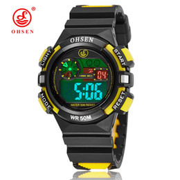 Wholesale Student Swimming - NEW OHSEN Digital Kids Boys Rubber Waterproof Wristwatch Alarm Date Electronic LCD Outdoor Sport Yellow Cool Swimming Student Watches Gifts