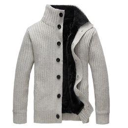 Sudaderas gruesas de invierno online-Invierno de los hombres suéter de cuello alto abrigo de lana grueso Cardigan prendas de punto suéteres Warm Fleece sudadera con capucha abrigo informal