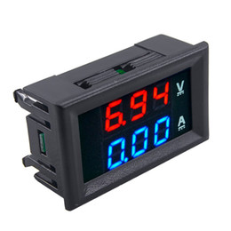 Wholesale Digital Volt Meter Blue - New DC 100V 10A Voltmeter Ammeter Blue + Red LED Digital Volt Meter Gauge