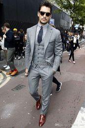 Wholesale Groom Suits For Sale - Wholesale- 2015 Fashion men Suits New Dress suit Silver tuxedo Gentleman Wedding Prom Groom Tuxedos For men hot sale