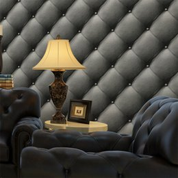 Wholesale Paper Wall Covering - European Style Faux Leather Soft Package Wallpaper 3D TV Background Wallpaper Wall Covering Bedroom Living Room Papel De Parede