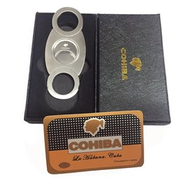 Wholesale Stainless Cigar - COHIBA Fashion High-Grade Portable Stainless Steel Cigar Cutter Knife Scissors Cut Tobacco Cigar Devices with Box Pocket Size Smoke Knife