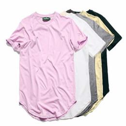 Tshirt kpop on-line-Curvo Hem Hip Hop Tshirt Homens Verão Em Branco Estendido Mens T-shirt Urbano Kpop Homens Camisetas Justin Bieber Kanye West Roupas