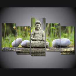 Wholesale Panel Wall Art Buddha Framed - 5 Pcs Set Framed HD Printed Figure Of Buddha Picture Wall Art Canvas Print Room Decor Poster Canvas Painting Wall
