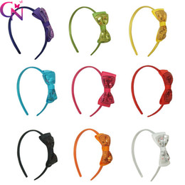 Wholesale Satin Covered Headbands - 27 Pcs  Lot Baby Girl Solid Sequin Bow Hairband With Satin Covered Kids Children Handmade Bling Hard Headband Hair Accessories