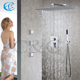 wall mounted shower system bathroom shower faucet set 55x35 cm ufo ultrathin rain shower head 00255x35t2s n uk