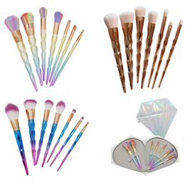 Wholesale Hair Color Brushes - Professional 7PCS Color Mermaid Diamond makeup brushes Eyebrow Eyeliner Blush Blending Contour Foundation Cosmetic Makeup Brush Set DHl Ship
