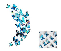 Wholesale Home Television Sets - Bule Color 12pcs set Magnetic Pins 3D Butterfly Wall Stickers Home Party Wedding Decoration Removable Window Refrigerator Wall Stickers