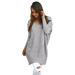 Wholesale Oversized Sweaters Wholesale - Wholesale-Women V-Neck Chunky Knitted Oversized Baggy Sweaters Thin Jumper Tops Outwear