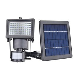 Wholesale Led Project Light Lamp - Hot!! 60 LED Solar Floodlight outdoor wall lamps garden lighting LED Flood Security Garden Projecting Landscape Lawn Light with Motion Senso