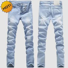 Wholesale Hip Hop Boys Jeans - Wholesale-High Quanlity 2016 Light Blue Men Washing Stretch leg Pencil pants teenagers Boys Hip Hop Bleaching Denim Jeans Slim Fit Bottoms