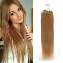 """Wholesale Dark Auburn Micro Ring Extensions - Micro Loop Ring Hair Extensions #27 straight 16-26"""" 50-100g Brazilian Human Natural Hair Hairpieces Human hair extensions"""