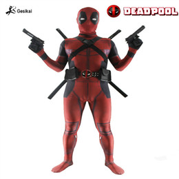 Wholesale Adult Costume Patterns - Deadpool Costume Adult Man Spandex Lycra The Avengers Full Body Second Skin Tight Suit Printing Patterns Hood Zentai Bodysuit and accessorie