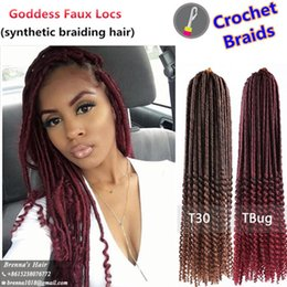 Wholesale High Temperature Fiber Hair Extensions - Synthetic two tone ombre Goddess Faux Locs Curly Crochet Braid Hair 20inch 24Stands Ombre Hair Extensions High Temperature Fiber USA UK AU