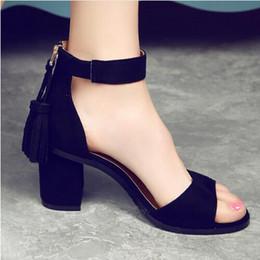 Wholesale Thick Fringe - Woman Pumps Shoes 2017 summer Tassel Flock women sandals fringe sandal heels Thick high heels sandals sandalias de salto alto