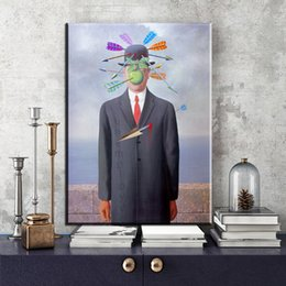 Wholesale Canvas Wall Art Ideas - ZZ2034 famous canvas paintings by rene magritte wall paintings for home decor idea oil painting art