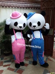 Wholesale Cartoon Character Costume Bear - couple doll bears fast shipping Mascot Costume Kung Fu Panda Cartoon Character Costume Adult Size Wholesale and retail