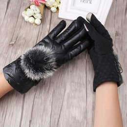 Wholesale C Cashmere - Wholesale- C Ladies Winter Thick Warmer Gloves Female Gloves Rabbit Fur Ball Mitts Good Quality Anti Slip Mittens Windproof Down guantes