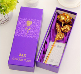 Wholesale Dragonfly Bags - 2017 hot 24K gold leaf rose artificial flower Valentine's Day wedding family decorative flower fake plants