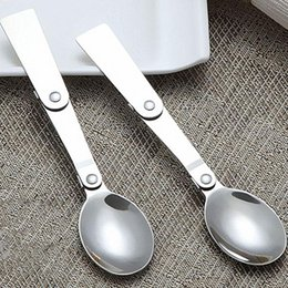 Wholesale Disposable Foldable - Wholesale- 1pc Portable Foldable Stainless Steel Soup Spoon Outdoor Camping Hiking Cookout Picnic Soup Spoons Easy For Dining s2