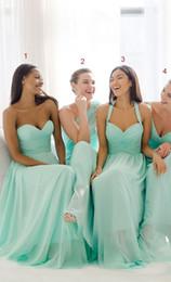 2017 Mint Green Brautjungfer Kleider Schatz A-Linie Chiffon Lange Maid Of Honor Kleider für Frauen Brautjungfern Kostenloser Versand Günstigen Preis von Fabrikanten