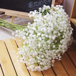 Wholesale Wholesale Supplies For Wreaths - Wholesale-6Pcs White Baby Breath Artificial Flowers for Wedding Decoration Event Party Supplies High Quality Decorative Flowers Wreaths