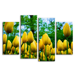 Wholesale Tulips Painting Abstract - Golden Tulip Flower Painting on Canvas Non Frame Modern Giclee Print Living Room Wall Decor (30cmx60cmx2 30cmx80cmx2)