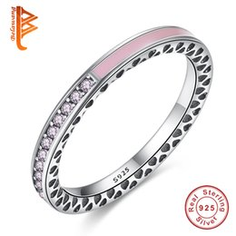 Wholesale Enamel Ring Crystal - BELAWANG Original 100% 925 Sterling Silver Radiant Hearts Of Pink Lavender Enamel Ring for Women Purple Clear CZ Crystal Wedding Ring