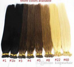 Wholesale Ash Blonde Hair Extensions - 1g s 100g Human Remy Hair Ash Brown Platinum Blonde Straight Custom Capsule Keratin Stick I-tip Human Hair Extensions