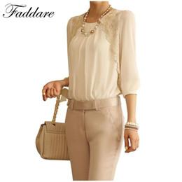 Wholesale Embroidered Chiffon Lace - 2017 Fashion Elegant white chiffon blouse Lace Embroidered long sleeve Tops shirt
