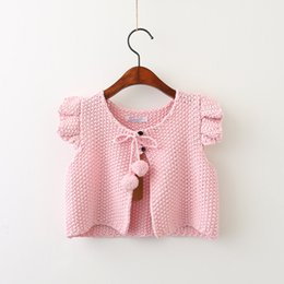 Wholesale Korean Knit Jacket - Everweekend Girls Bow Tassel Knit Jacket Cute Baby Fly Sleeve Clothes Princess Candy Color Korean Fashion Autumn Coat