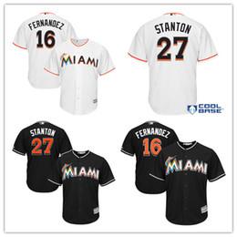 Wholesale Baseball Jersey Cool Base - 2017 Men's Miami Marlins Giancarlo Stanton 27# Jose Fernandez 16# Majestic Black Alternate Cool Base baseball Jersey 100% stitched Jersey