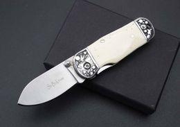 Wholesale Mini Folding Blade - mini Double steel head +ox bones Handle folding knife 7CR15 Blade gift xmas collect knife EDC 1 PCS for free shipping