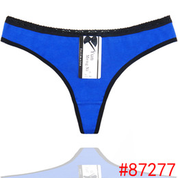 Wholesale Mature Ladies Women - Sexy Lace Trim Underwear Thongs Sexy Knickers Pure Color Cotton G-strings with Black Lace Sides Mature Ladies G Strings
