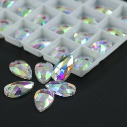 Wholesale Wholesale Sew Rhinestones - Crystal AB Teardrops Sew On Rhinestone All Size Glass Flatback Fancy Sew-on Stone R3230 50pcs per bag