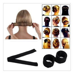 Wholesale hair updo buns - Magic Hair Clips Bun Hair Bun Black Women Hairagami Hair Bun Updo Fold Wrap Snap Magic Styling Tool Cover Maker Tools Free Shipping