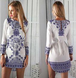 Wholesale Blouse Porcelain - New Women Fashion Hot sale Long Sleeve Blue and white Vintage Porcelain Flower Blouse Casual Mini Dress