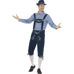 Wholesale Movies German - Men Traditional Oktoberfest Costumes German Bavarian Beer Male Cosplay Halloween Men Party Clothes Chequered Top and Blue Lederhosen W4153