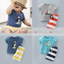 Wholesale Stripe Pajamas - Baby Boys clothes Sets bird   boat  airplane Top t shirt+Stripe Pants Children Short Sleeve Outfits Kids Summer Pajamas Suits E913
