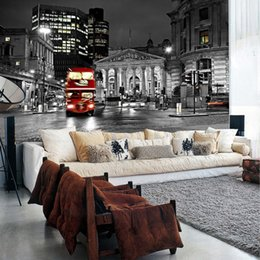 Wholesale Fabrics Papers - Wholesale-Large mural living room sofa backdrop bedroom wall bar modern personalized wallpaper London street wallpaper mural