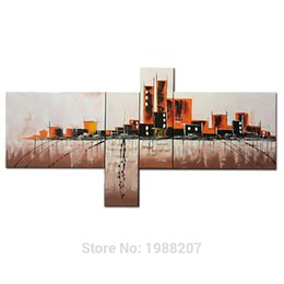 Wholesale Contemporary Pictures - City Landscape 100% hand painted Oil Painting 4 Panels Stretched and Framed Contemporary Abstract Wall Art Ready to Hang Decor