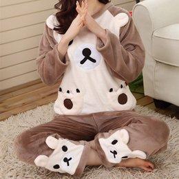 Wholesale Flannel Nightgowns Women - New Winter Cute Bear Flannel Pajama Sets Women Warm Sleepwear Home Wear Pullover Tops+Pants 2Pcs