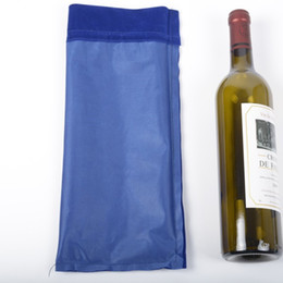 Wholesale Factory Direct Breasts - Empty Bottle Red Wine Bags With Nylon Rope Drawstring Bags Flannelette Gift Pouch Factory Direct Sale 2 3jla B R