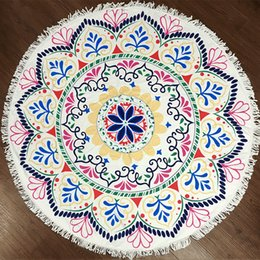 Wholesale Pattern Bath Rugs - 2017 Round Beach Towel with Tassels Mandala Tapestries Various Patterns Bikini Cover up Beachwear Bath Throw Shawl Rugs Beach Towel MT06